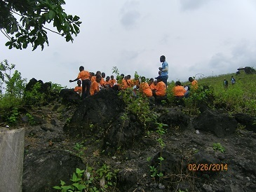 2014 Students at mt Cameroon[the village of Bakingile] where the last eruption occured4.JPG